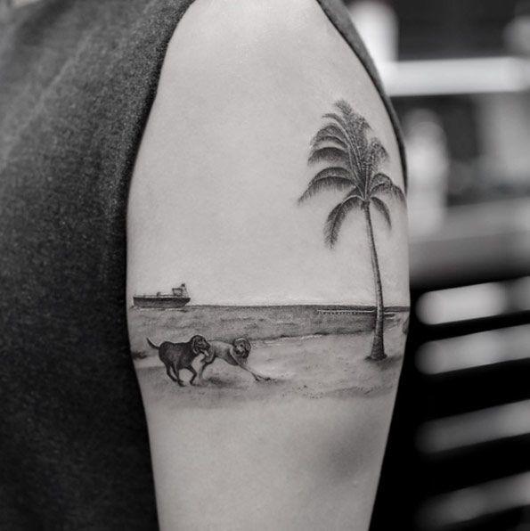 Blackwork Palme am Strand von Turan - Tattoo - #blackwork