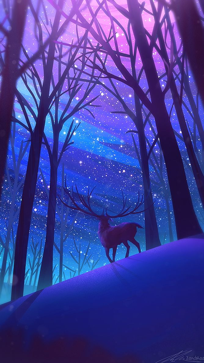 Reindeer Forest Night Stars Digital Art Iphone Wallpaper Fantasy Landscape Beautiful Nature Wallpaper Nature Wallpaper