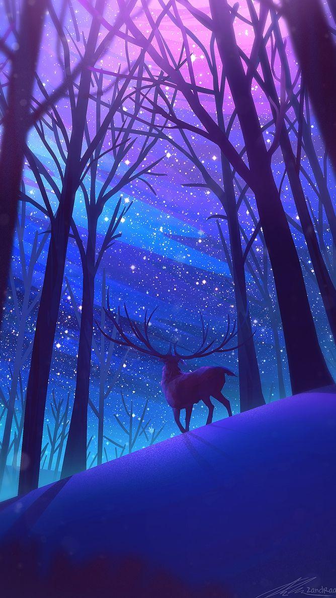 Reindeer Forest Night Stars Digital Art Iphone Wallpaper Scenery Wallpaper Fantasy Landscape Forest Wallpaper