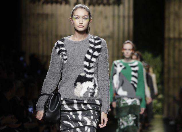 Model Gigi Hadid wears a creation part of the Max Mara women's Spring-Summer…