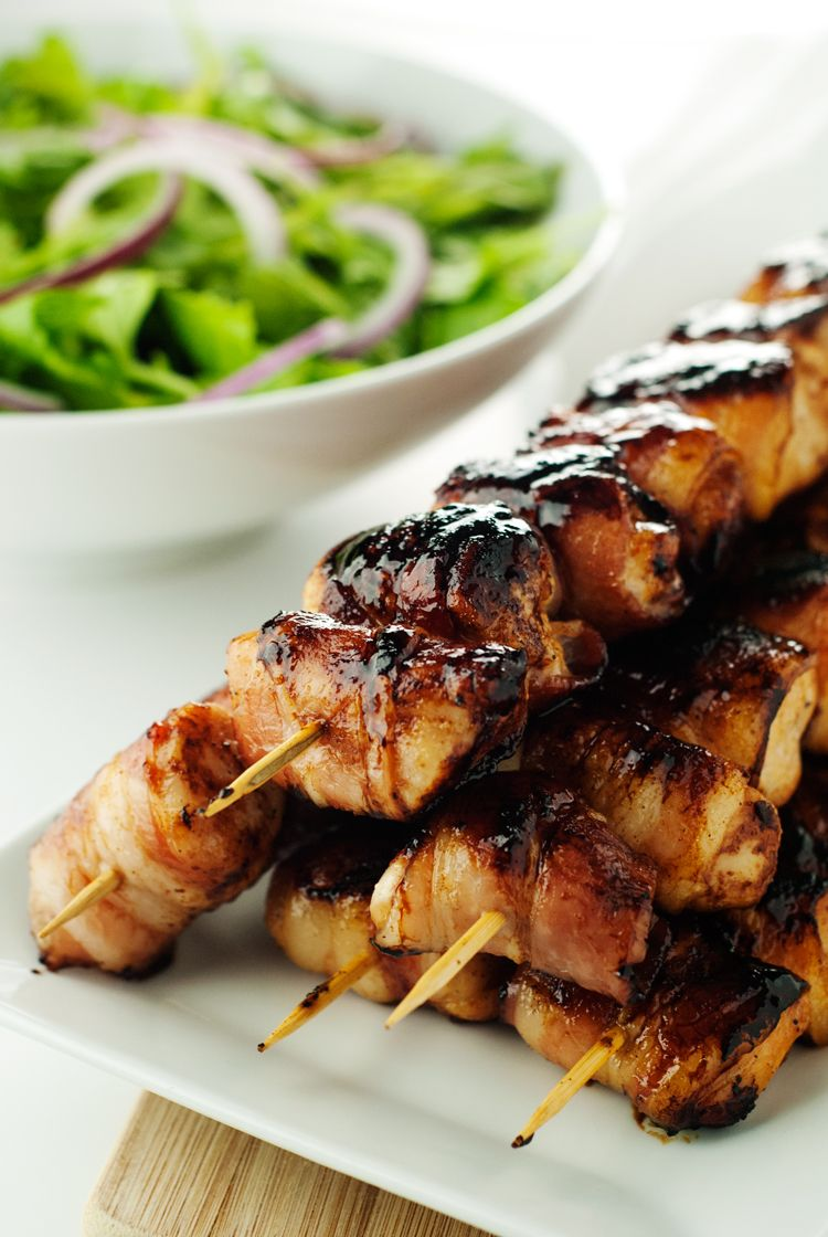 Sweet and Spicy Bacon Wrapped Chicken Skewers | Recipe ...