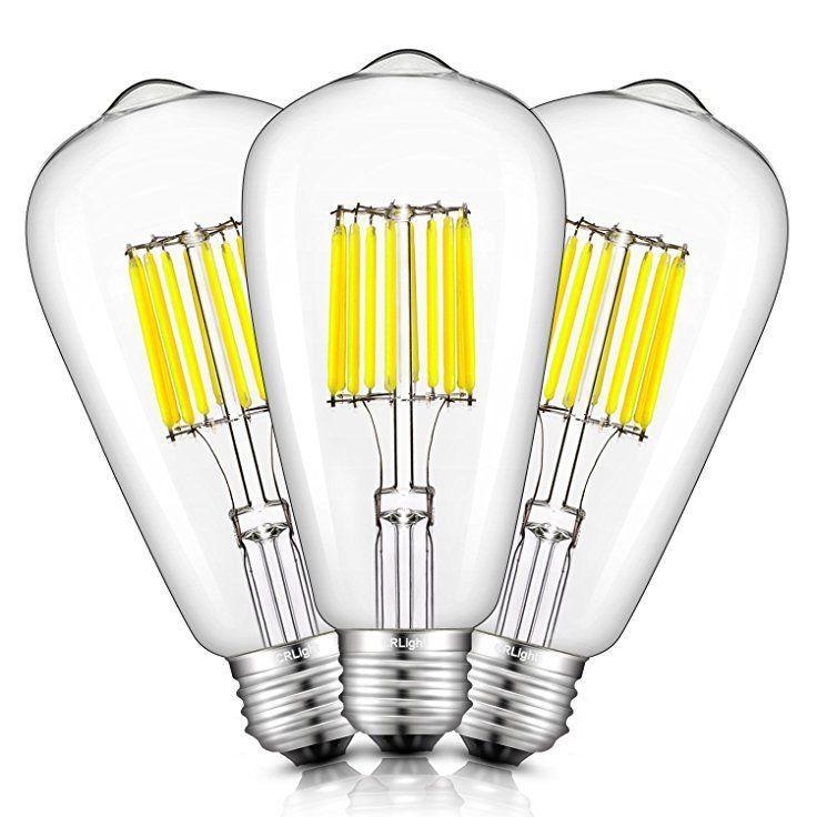 Crlight Led Edison Bulb 10w 5000k Daylight White 1000lm 100w Equivalent E26 Medium Base St64 Vintage Filament Bulb Filament Bulb Lighting Vintage Light Bulbs