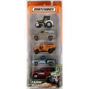 Matchbox Farm Rigs #4 - 5 Pack by Mattel. $19.99. Incredible details, amazing recreation and craftmenship. The hottest rural vehicles, all in one set. Recommended for ages 3 and up. An instant car collection with a Farm Rigs theme. 5-pack of assorted farm vehicles.
