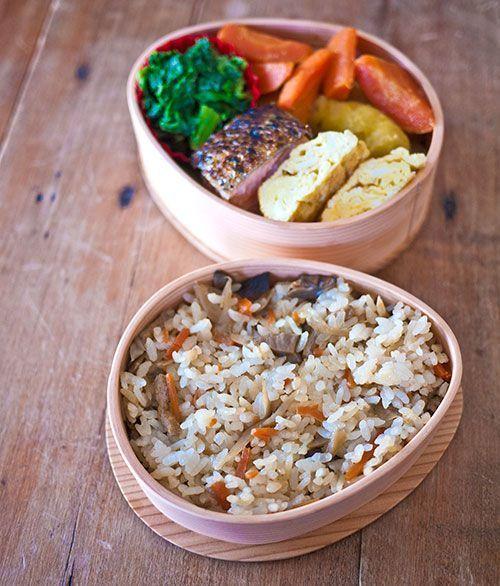 yams, collards, pork, omelette, rice