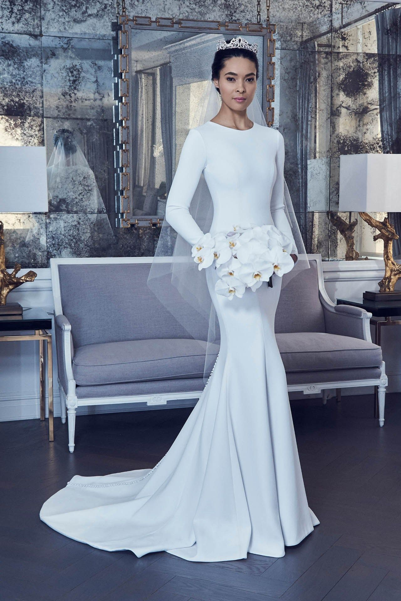 0dbc1908ced Long sleeve white mermaid wedding dress by Romona Keveža Collection Bridal   mermaidcut  fishtail  RomonaKevežaCollection  2019
