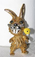 Whimsical Easter Bunny Rabbit Pin with Flower
