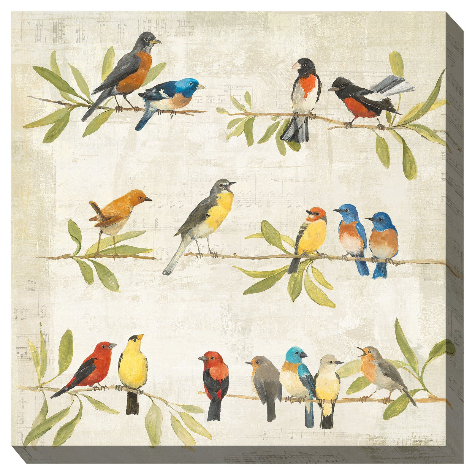 West Of The Wind Indoor Outdoor Birdsong Wall Art Bird Canvas Music Art Print Square Wall Art