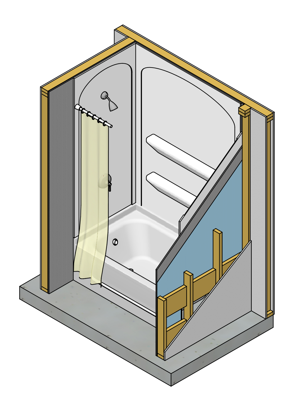 Image Result For How To Build Frame For A One Piece Shower Stall