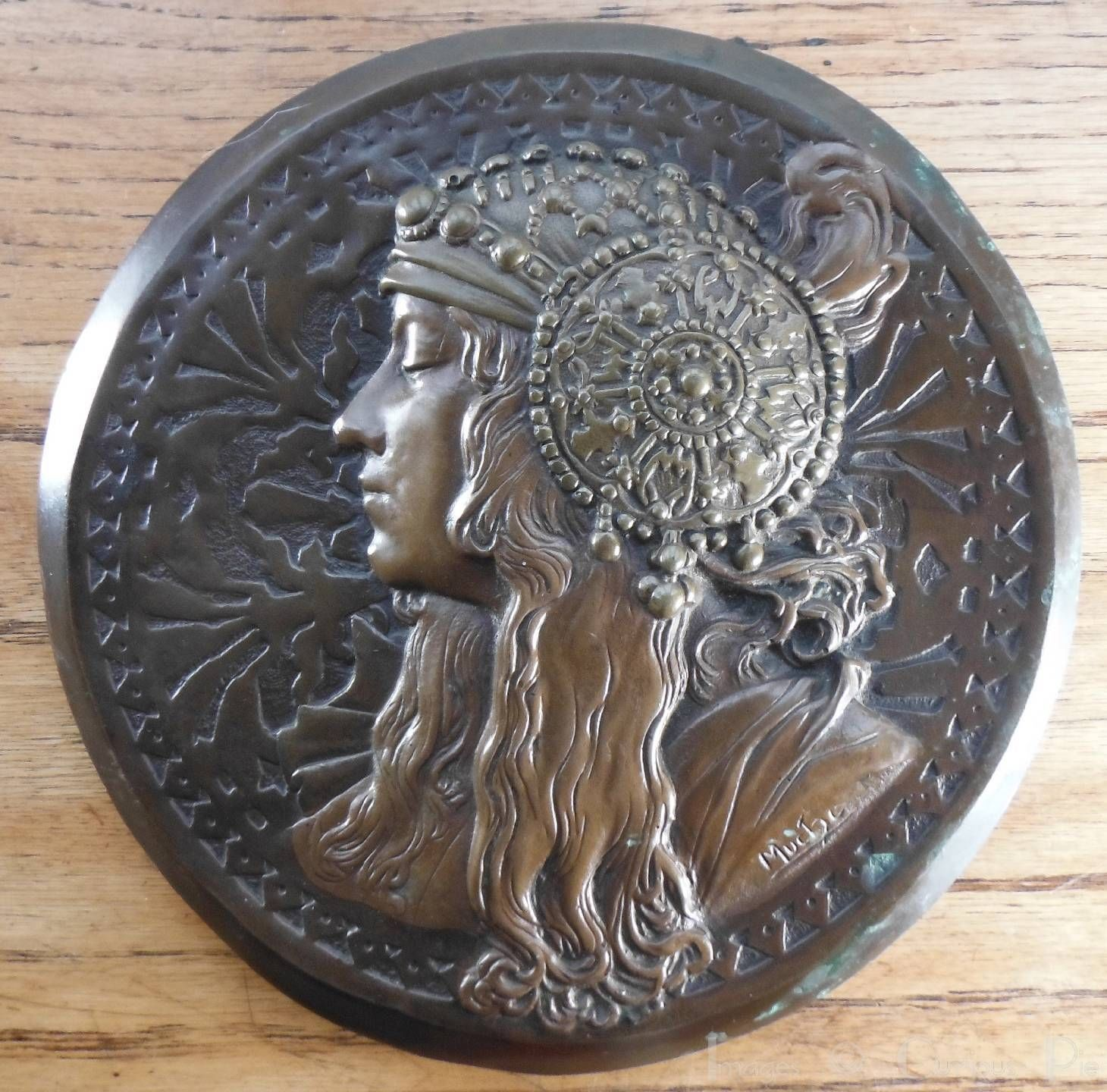 Vintage Art Nouveau Lady Mucha Style Bronzed Wall Plaque Facing Right Ref 1 | eBay
