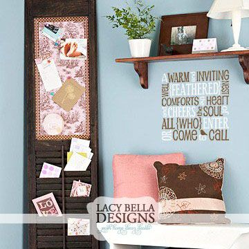 """""""A Warm And Inviting Well Feathered Nest Comforts The Heart And Cheers The Soul of All Who Enter Or Come To Call""""  http://www.lacybella.com/entryway/a-warm-and-inviting-well-feathered-nest../ Personalized decorative wall art, vinyl decal, vinyl lettering home decor removable adhesive discount vinyl wall stickers for the family or living room."""