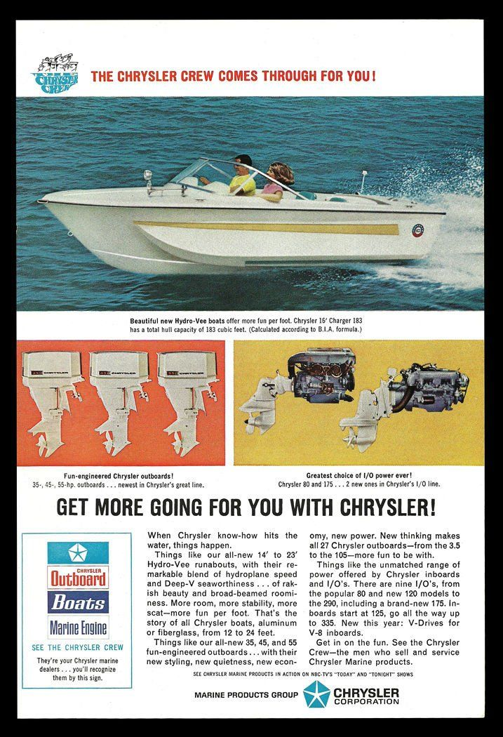 Chrysler BOAT Hydro Vee Runabout Boats Outboard Motors 1967 Marine Boating AD