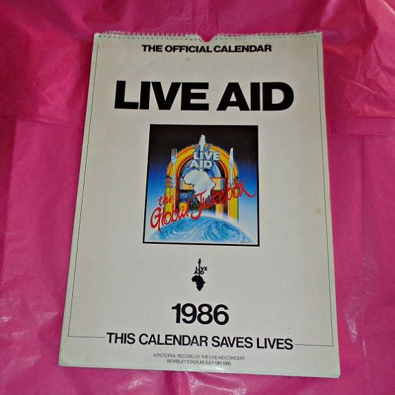 Very Rare The Official 1986 Live Aid Calendar By Welshgoatvintage