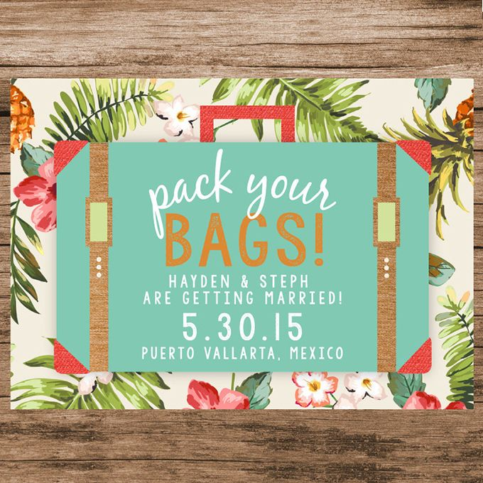 Wedding Invitations For Destination Wedding: Pack Your Bags Save-the-Date Cards
