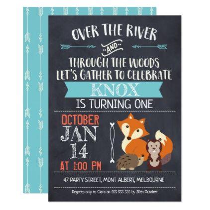 woodland animals chalkboard birthday invitation party gifts gift