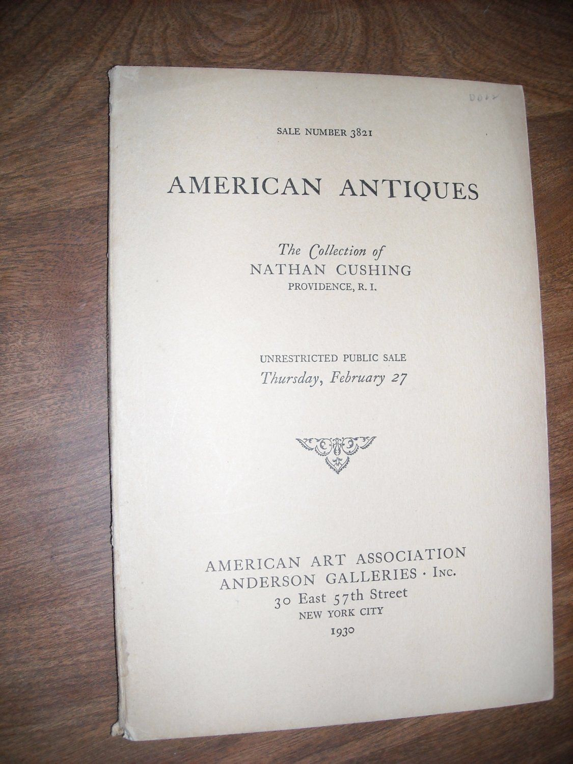 American Art Association Anderson Galleries American Antiques (1930) Catalogue 3821 ~~ For Sale at Wenzel Thrifty Nickel eCRATER store