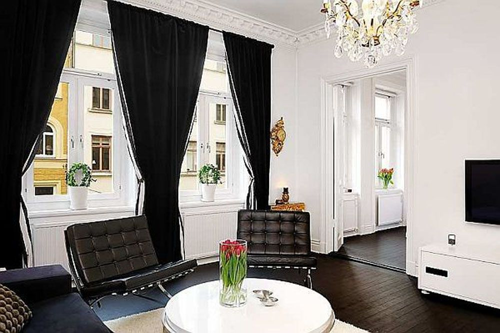 White Living Room Curtains: Black And White Living Room Decor
