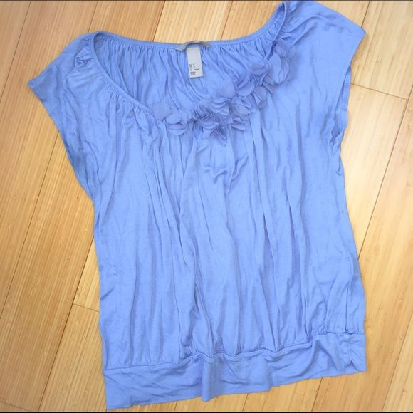H&M blue top, neckline detail. Lovely. Beautiful knit blue top of H&M. Beautiful detail at neckline. Sz medium. Excellent condition. So pretty! H&M Tops Tees - Short Sleeve