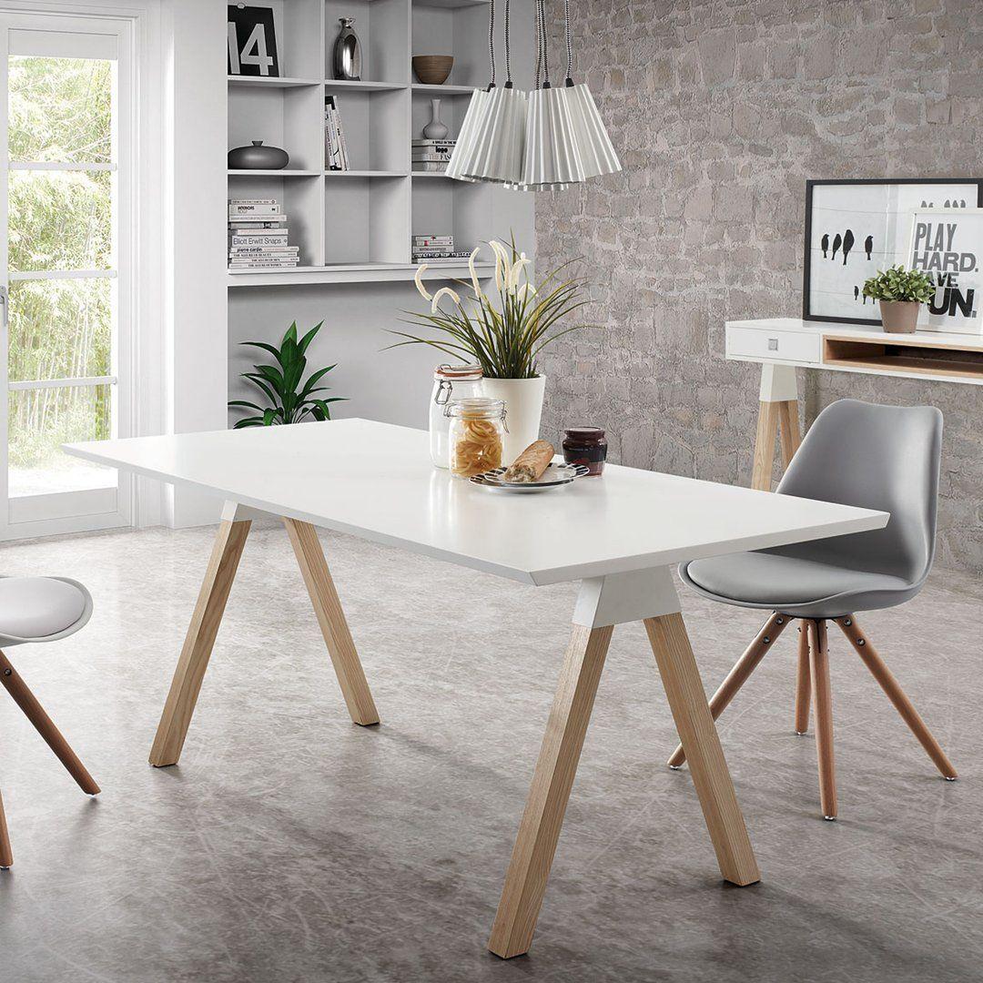 Mesa de comedor moderna stick blanco puro for Comedor moderno blanco