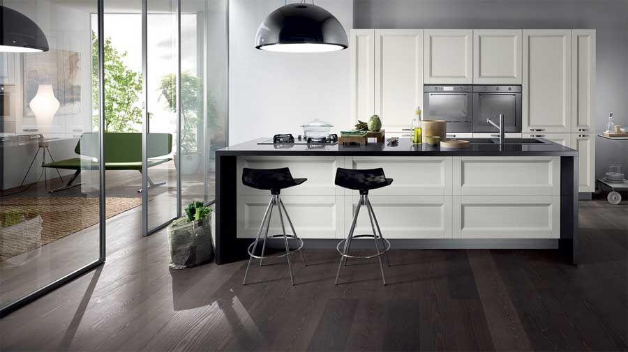 Küchen, Kücheninsel mit theke moderne Design in weiß schwarz - küche hochglanz weiss