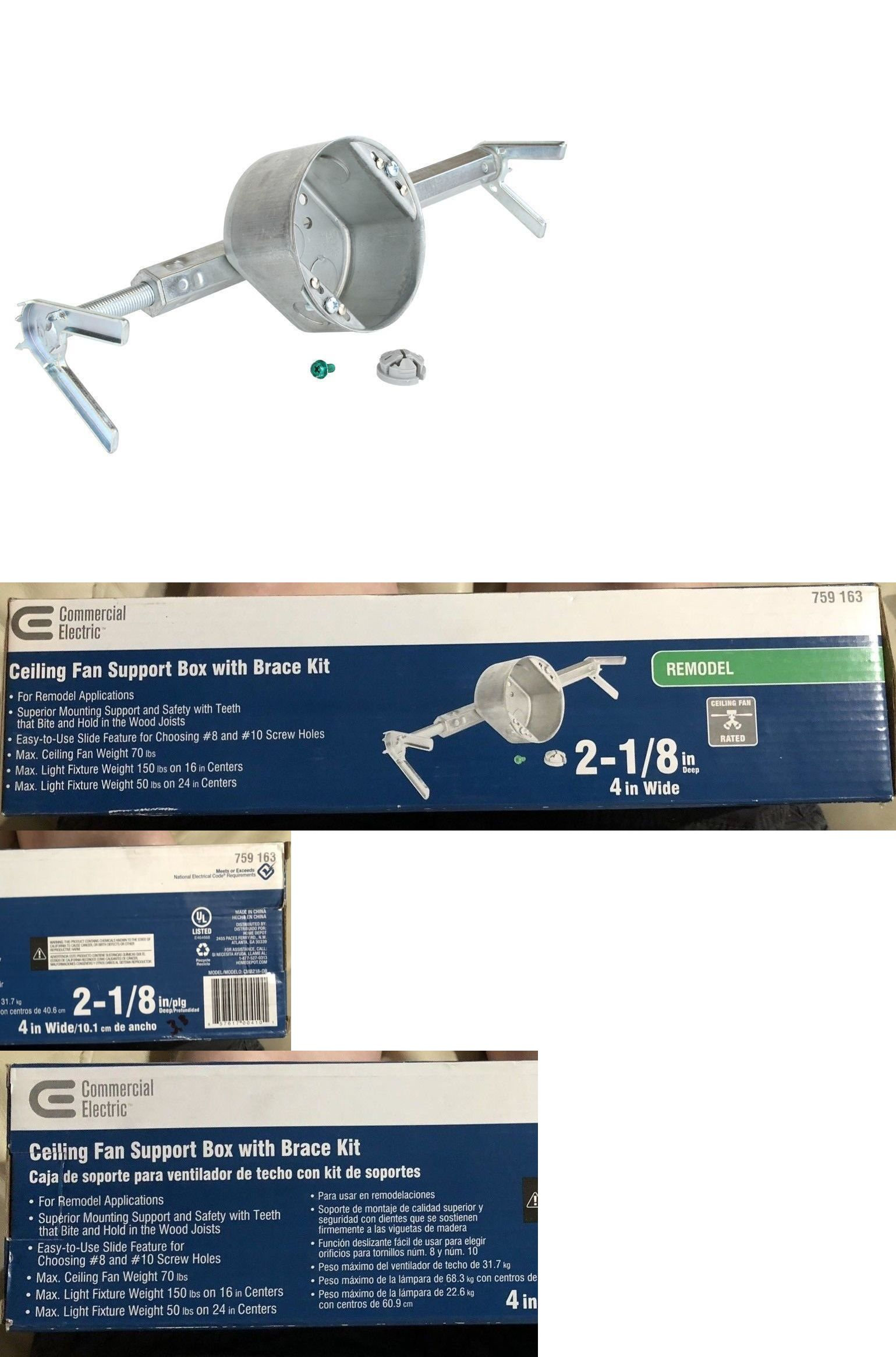 Braces And Brackets 45816 Commercial Electric Ceiling Fan Support Box Brace Kit 2 1 8 In Deep 4 In Wide Bu Commercial Electric Electric Box Boxes For Sale