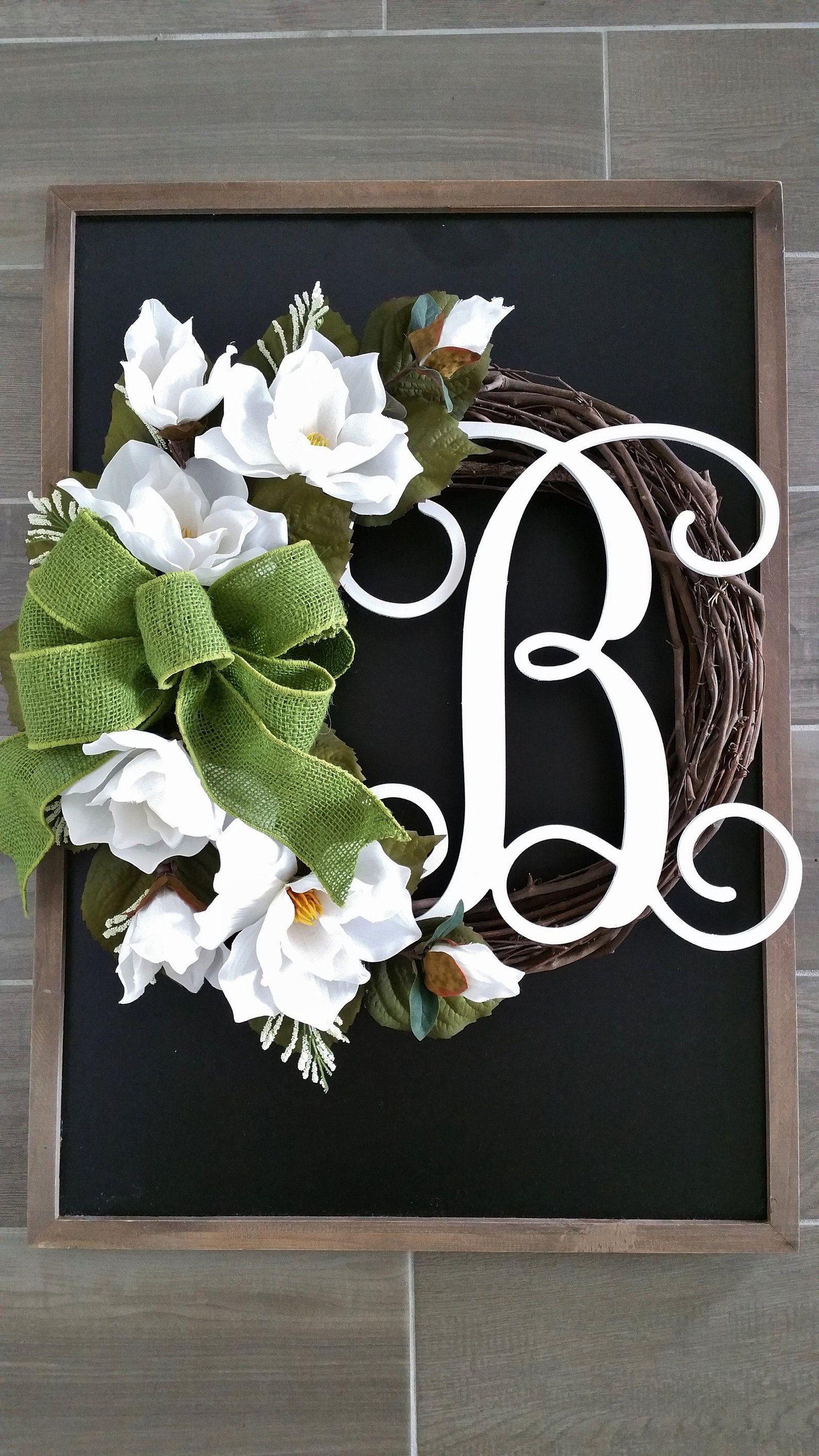 Photo of Magnolia Wreath. Grapevine Wreath. Front Door Wreath. Year Round Wreath. Spring Wreath. Summe…