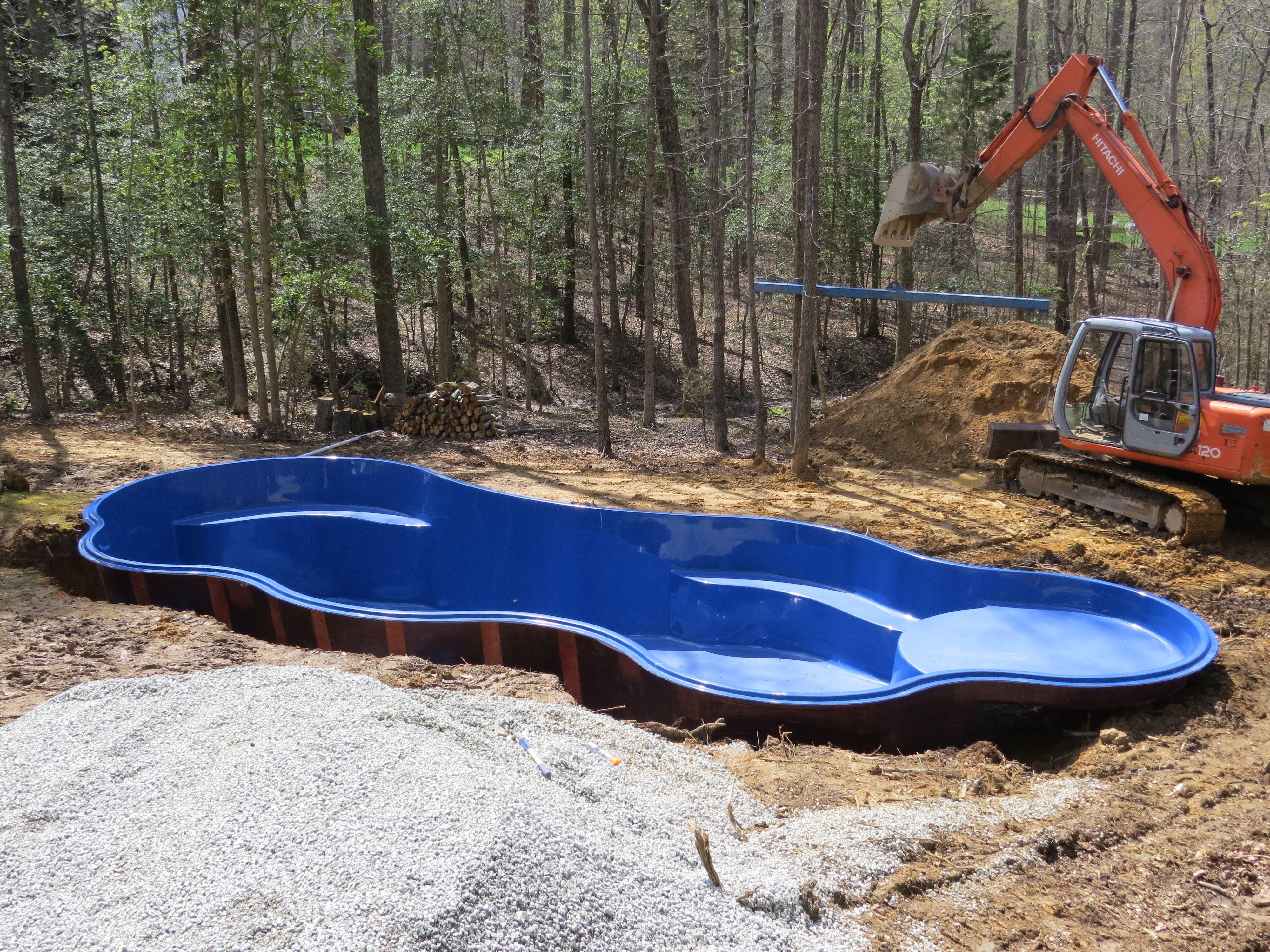 fiberglass pool with tanning ledge  Pool landscaping, Pool shapes