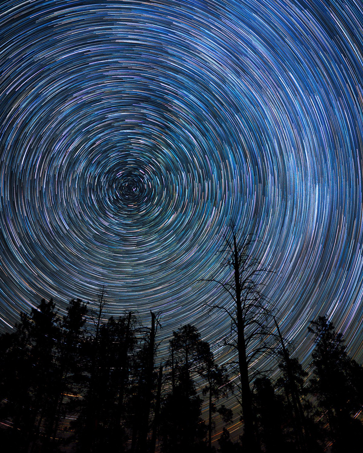Northern Wyoming Trails. Colorful Star Trails Stream