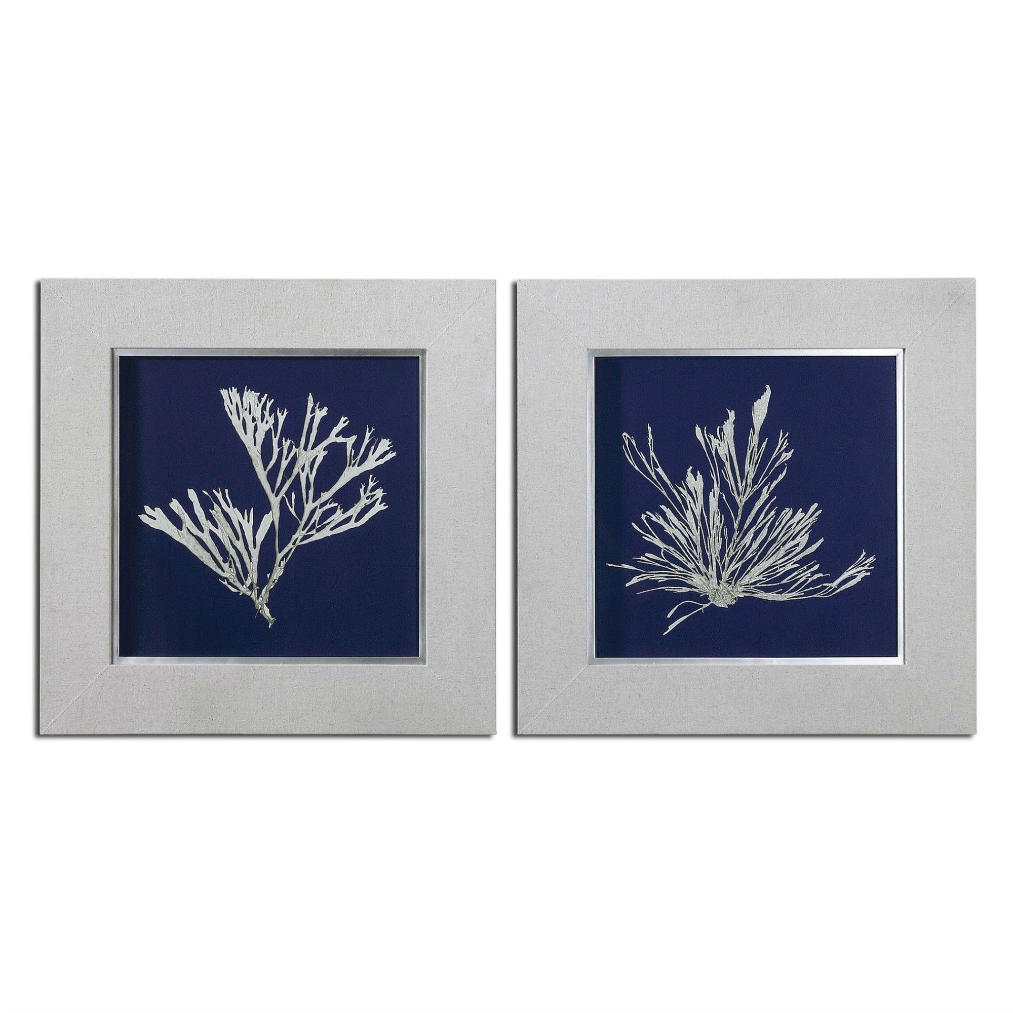 Seaweed on navy wall art set of elegant prints to add to a