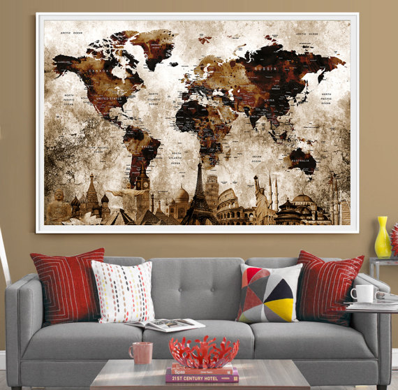 Push pin travel map world art deco postertravel map posters push pin travel map world art deco postertravel map gumiabroncs Image collections