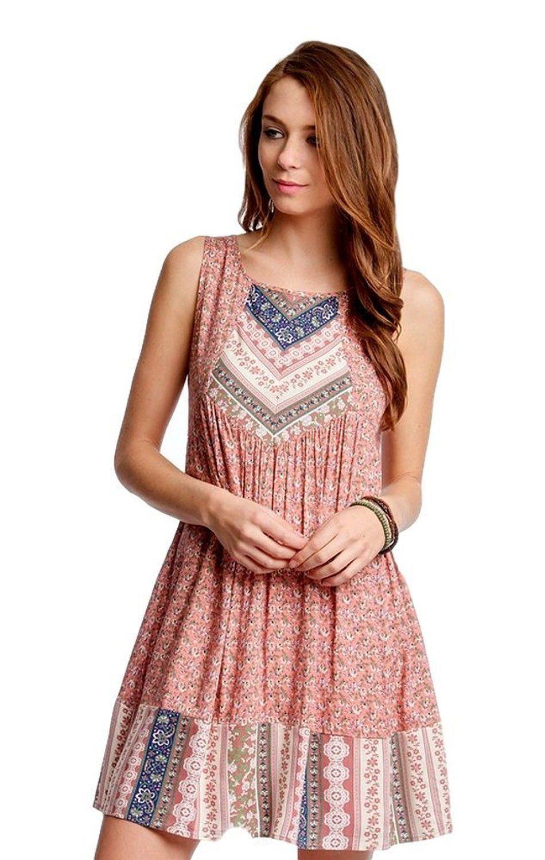 Sleeveless Floral Shift Dress, Rose: Amazon Fashion