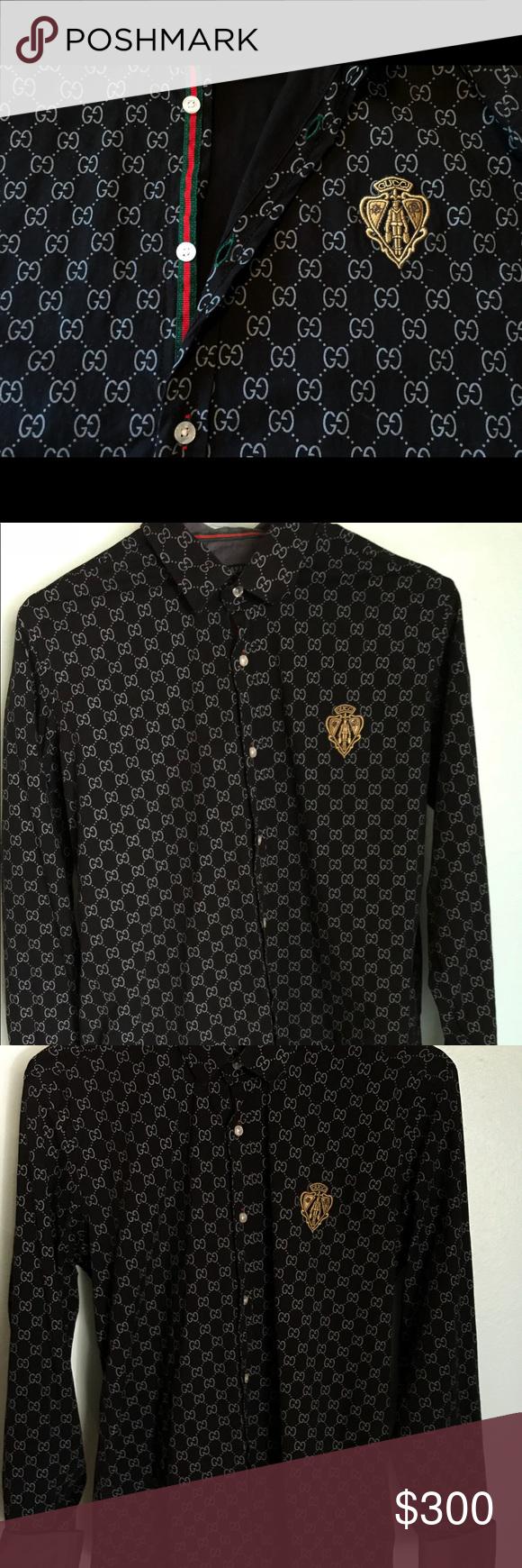 066a305d Gucci Mens/Unisex Button Up Shirt Black / M Slim Black Gucci Men's long  sleeve