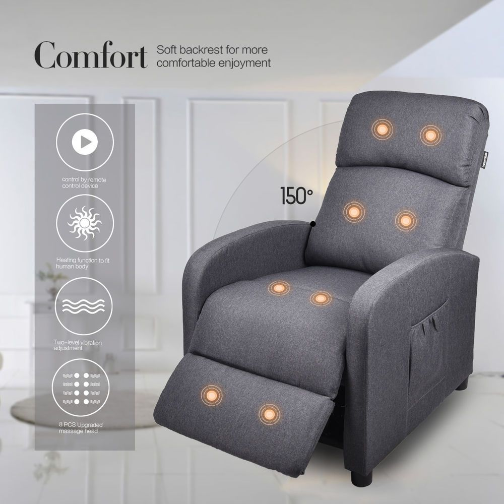 Recliner Sofa Adjustable Couch Massage Chair Remote Control Heating