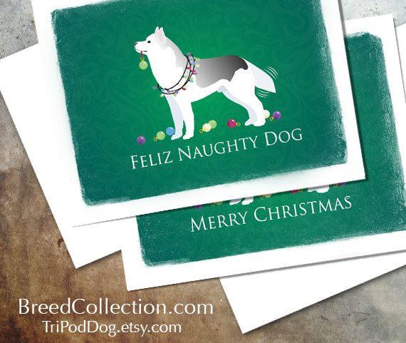 Husky Christmas Cards.Siberian Husky Christmas Card Digital Download Printable