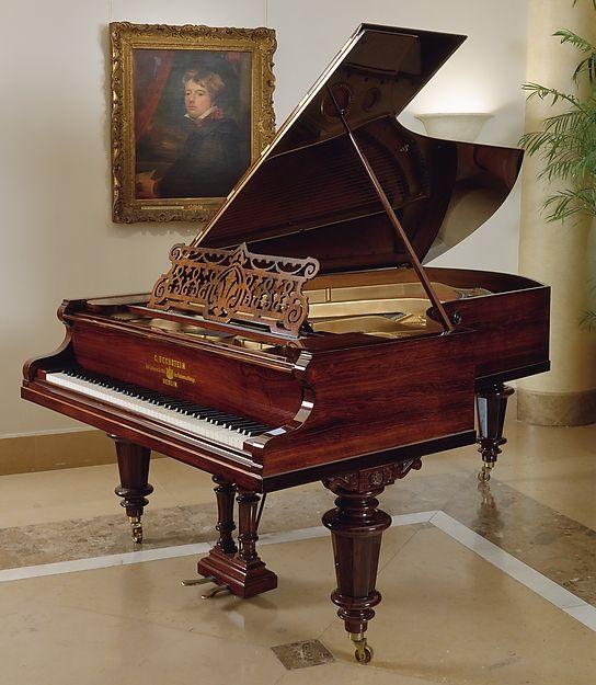 Carl Bechstein (Gotha 1826–1900 Berlin). Grand Piano, ca. 1893. Chordophone-Zither-struck-piano. The Metropolitan Museum of Art, New York. Gift of Schonberger Family Foundation, 1993 (1993.292). #MetMusic