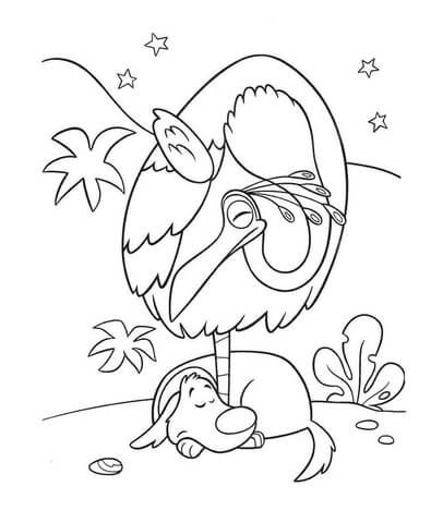 Dog And Bird Are Sleeping Coloring Page Cool Coloring Pages