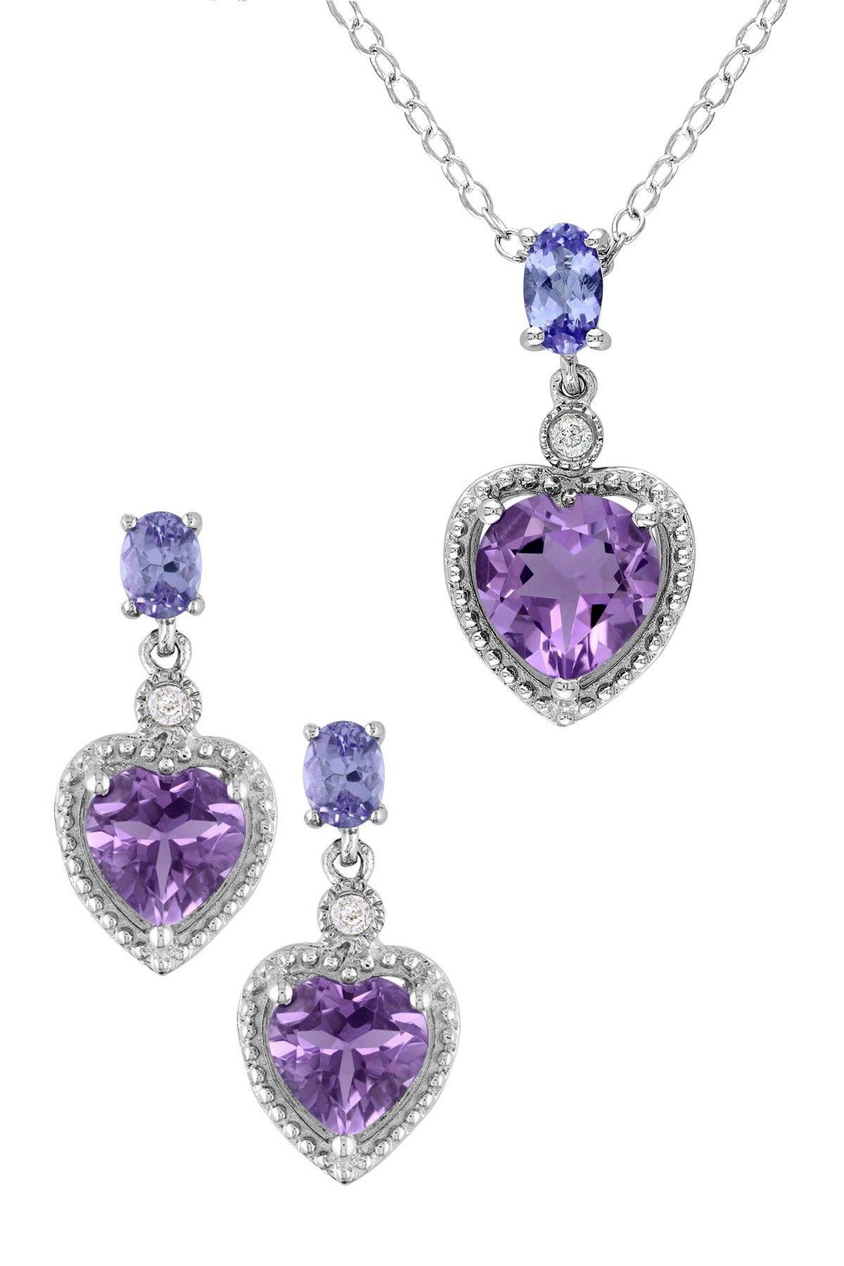 Sterling silver amethyst diamond u tanzanite pendant necklace