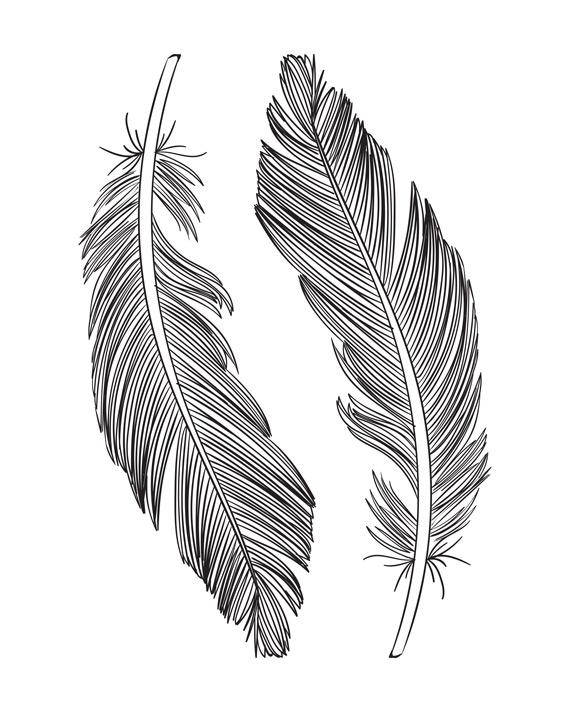 Feather Printable, Feather Wall Art, Black and White Feather Print