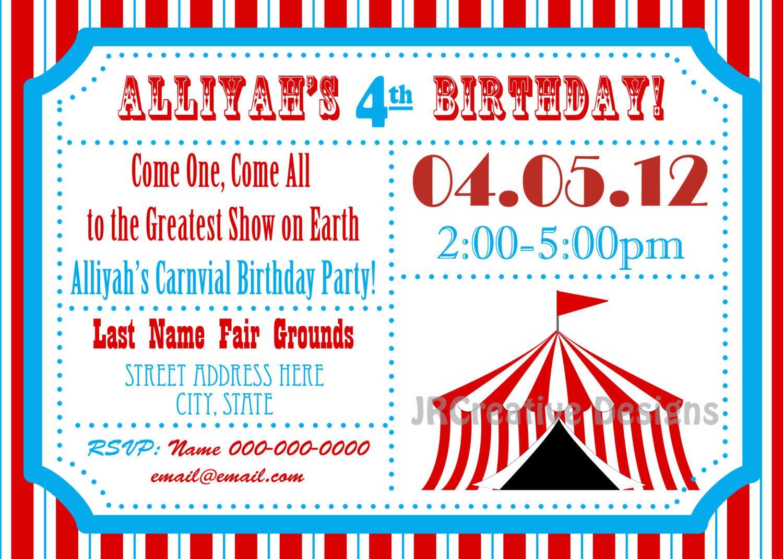 circus themed party circus birthday invitation ticket invitation circus invitation carnival invitation carnival birthday party invitation - Carnival Birthday Party Invitations