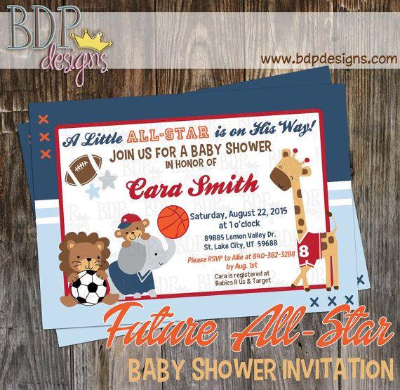 99aad38f6d604 Future All Star Baby Shower Invitation, MVP, Jungle, Sports ...