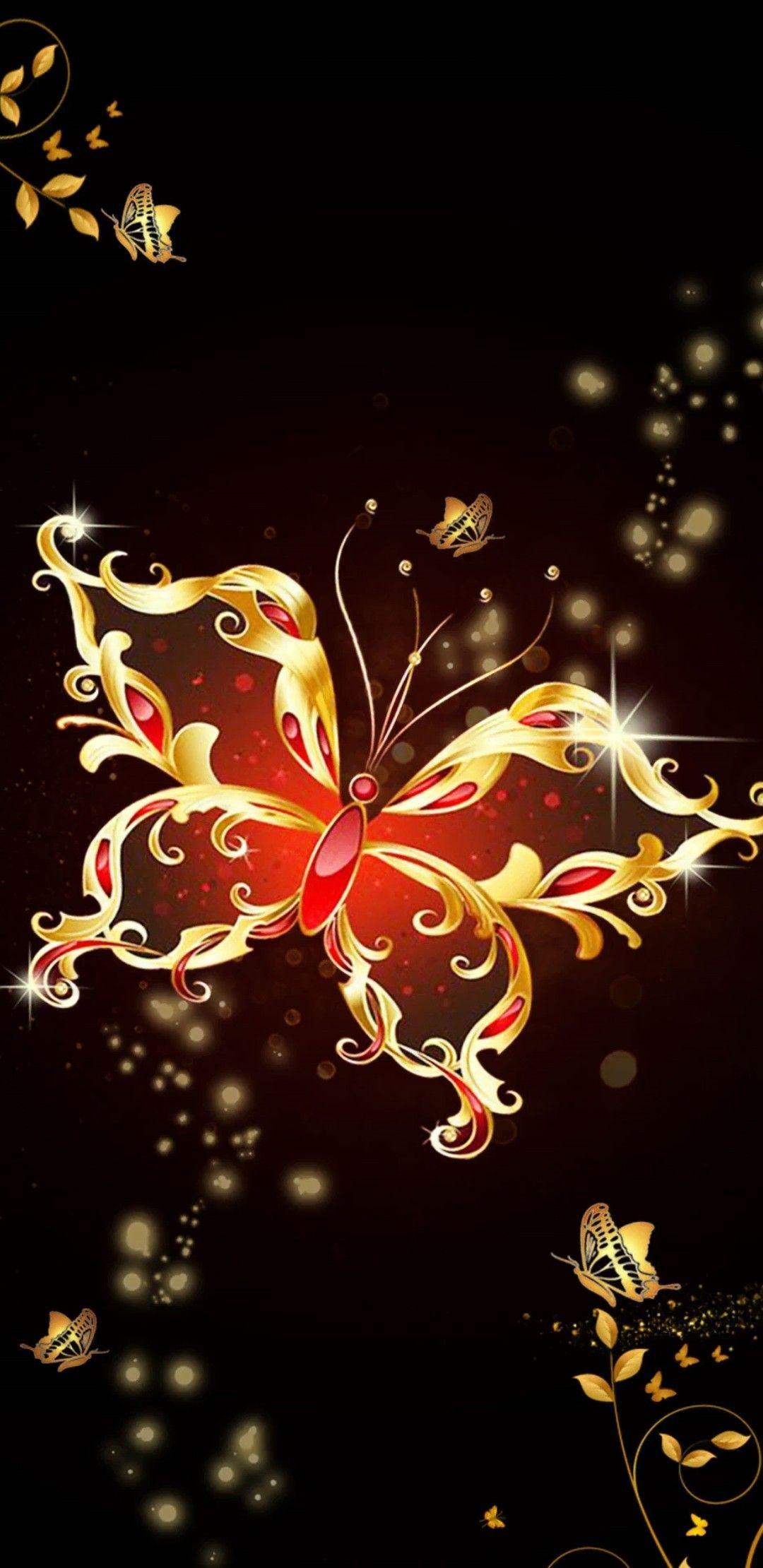 Red & Gold Butterfly | Butterfly wallpaper, Butterfly art ...