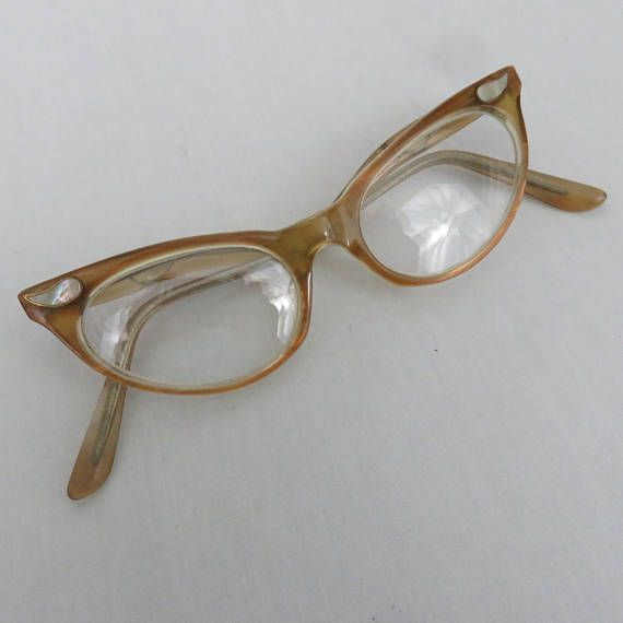 13515d95bd Vintage Raybert Italy Small Cat Eye Glasses or Sunglasses w  Mother of  Pearl Detail - 1950s Eyeglasses