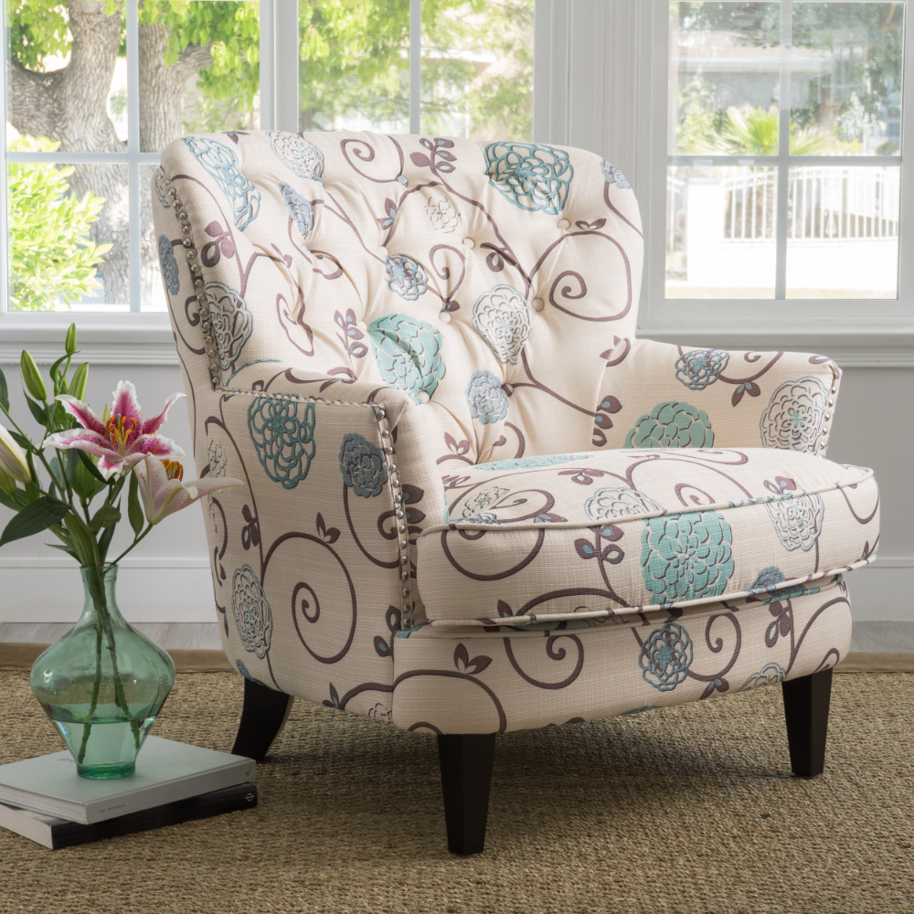 Noble House Tanner White And Blue Floral Fabric Club Accent Chair Walmart Com Tufted Club Chairs Accent Chairs Living Room Chairs