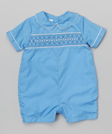 ce61bd3a9 Look what I found on #zulily! Blue Diamond Smocked Romper - Infant # zulilyfinds