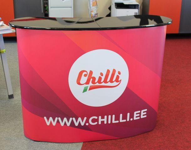 Iso messupöytä Chilli Hae tarjousta eri kokoisilla pöydille: http://www.liikelahja-toimisto.fi/fi/messupoyta/20575/Messup%C3%B6yt%C3%A4+Iso-STKONVS.html