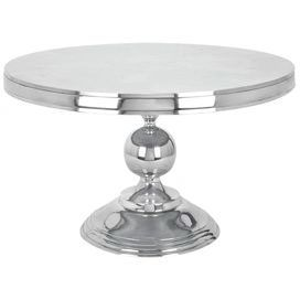 "Aluminum accent table in silver with an orb-accented base.    Product: Accent table  Construction Material: Aluminum Color: Silver Features:     Curvaceous orb base  Sleek circular top    Dimensions: 19"" H x 30"" Diameter     Note: Assembly required"