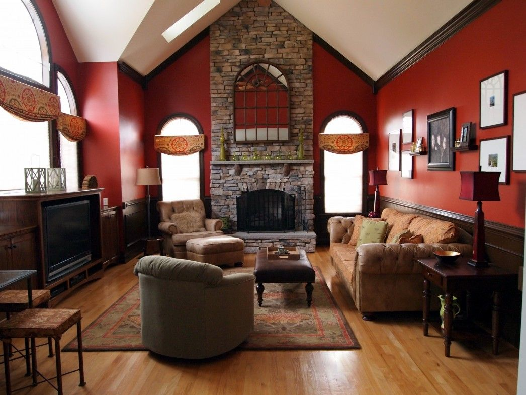 Attractive Stone Fireplace Wall Panel With Red Rustic Living Room Painted Color Schemes As Well