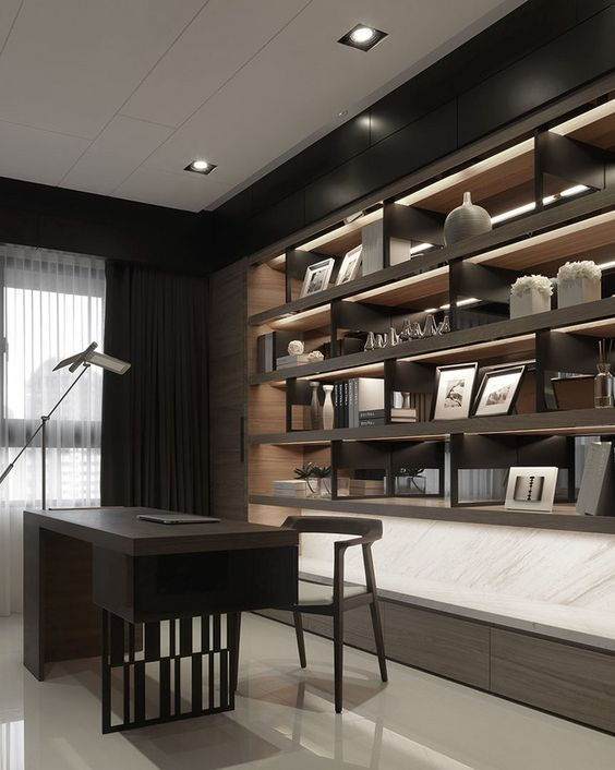 Study Room Glass: Like The Bookshelves And The Office Space