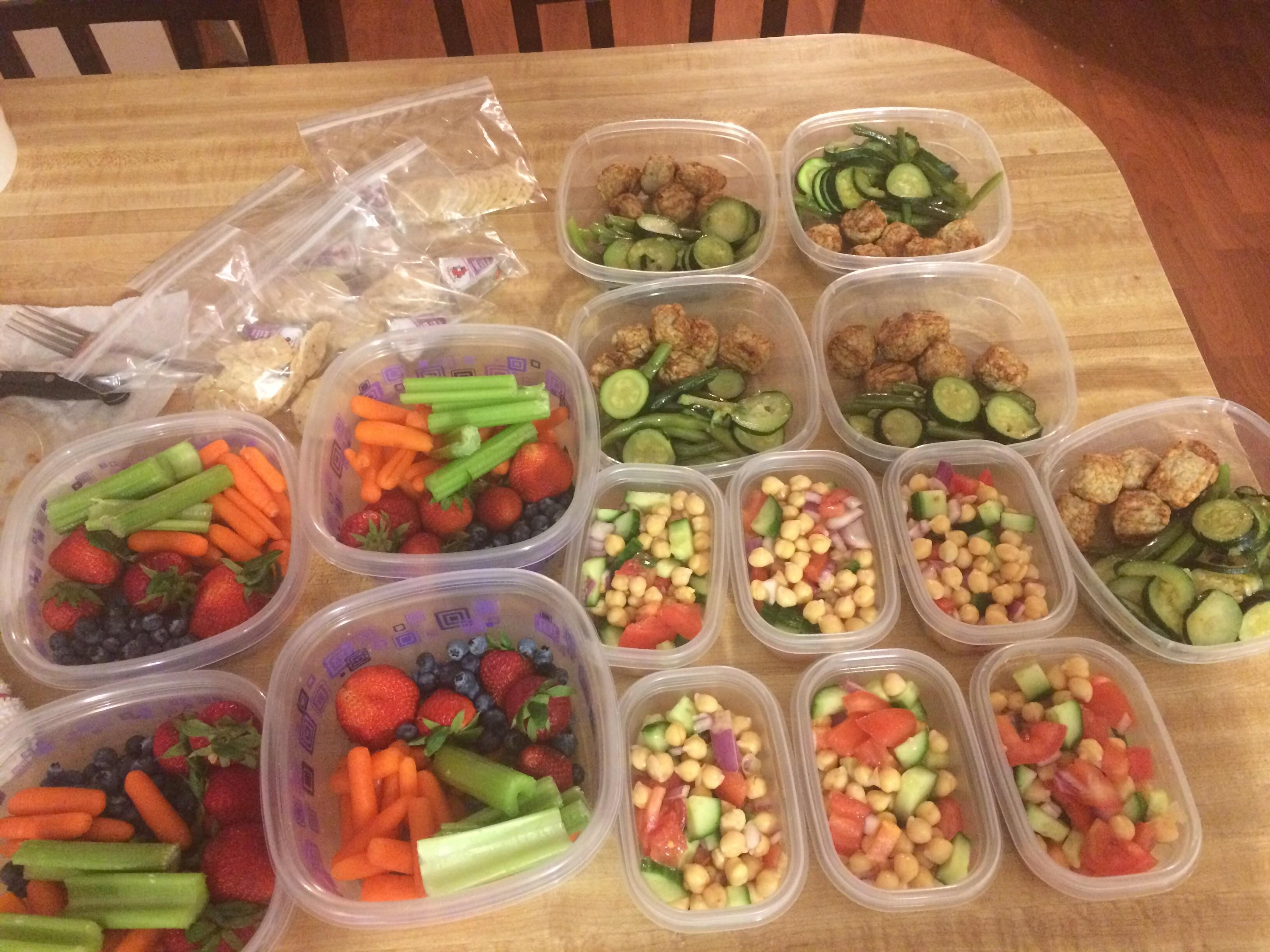 Completed my first meal prep! My week is suddenly looking a lot more convenient! Breakfast is special k almond milk lunch is chickpea salad snacks are fruit n veggiesgluten free almond crackers and laughing cow cheese dinner is turkey meatballs with zucchini and green beans. 1147 cal per day. #mealprepping #OneSimpleChange #mealprep #healthy #mealplanning #healthyliving #food #weightloss #sunday