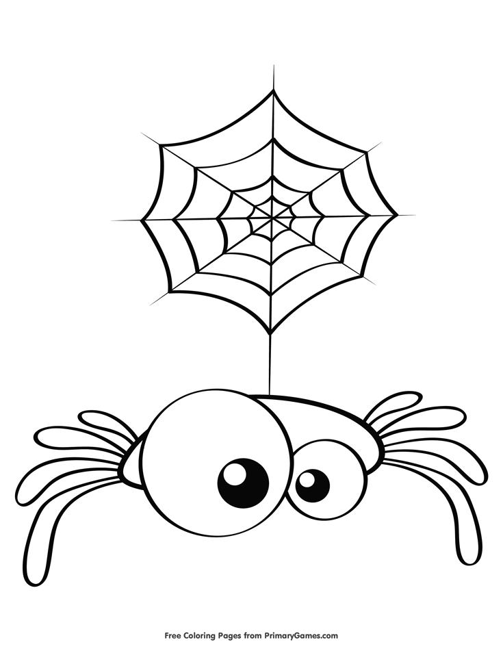 Cute Spider Coloring Pages Background