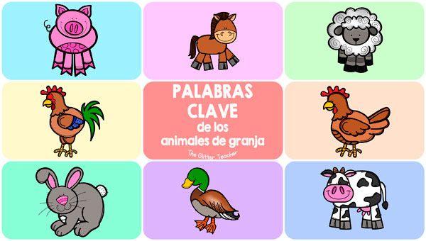 The Glitter Teacher Tarjetas De Vocabulario Y Talking Flash Cards De Los Animales De Granja Animales De La Granja Animales Tarjetas
